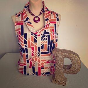 Ann Taylor sleeveless geometric top